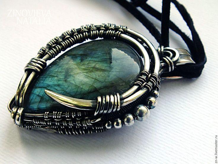 Купить Кулон с лабрадором wire wrap нейзильбер серебро - бирюзовый, подарок, Кулон ручной работы