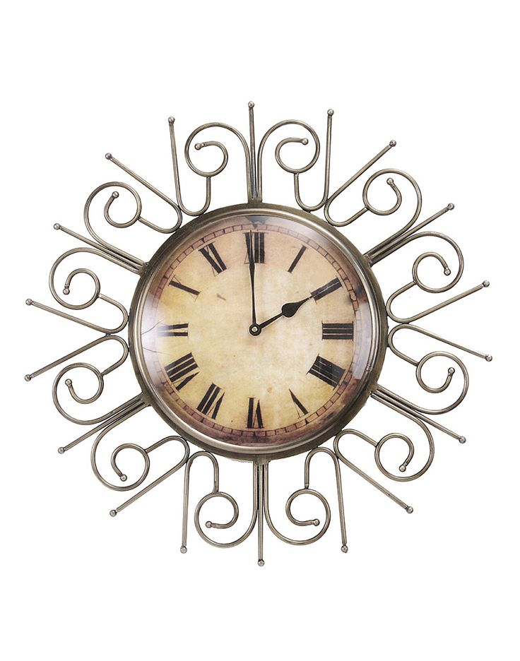 Fill the void on your empty walls with this vintage wall clock. This large wall clock will add a rustic touch to your decor. The top and base materials are made out of iron frame which wraps itself around the round shaped wood face for the lasting stay of the wall clock in your home for the years to come. Intricately carved, cast metal designs decorate the iron frame with a vintage motif elevating the grandeur of the design. This could be the missing piece that completes the room.