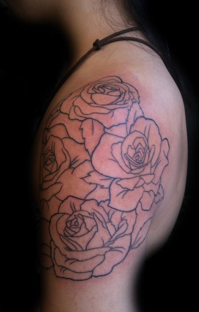 17 best images about shoulder rose tattoos on pinterest for Rose outline tattoo