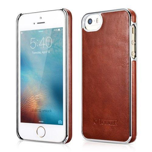 ICARER Retro Plating Genuine Leather Skin Hard Phone Case for iPhone SE/5s/5