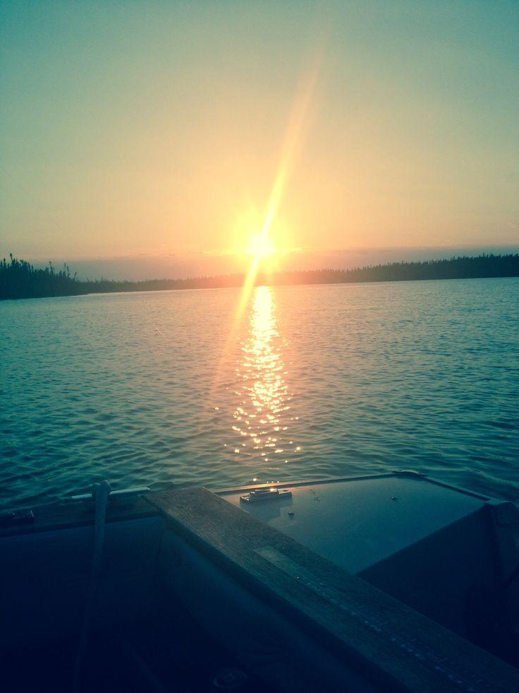 Sun set fishing in Gillam, Manitoba, Canada
