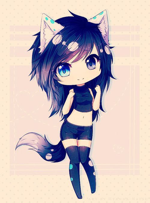grafika black hair, wolf, and anime girl