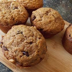 Zucchini-Chocolate Chip Muffins: Added a few more chocolate chips and left out the walnuts. If you bake it without the liners, only bake it for only 20 min at 350 degrees. Really fluffy and you can't even taste the zucchini.