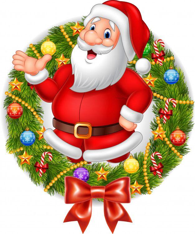 Dibujos Animados De Santa Claus Agitando La Mano Con Corona De Navidad Vector Premium Free V Artesania De Navidad Facil Dibujo De Navidad Pinturas De Navidad