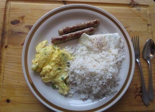 Longsilog (Sausage, Eggs, Garlic Rice Filipino Breakfast)