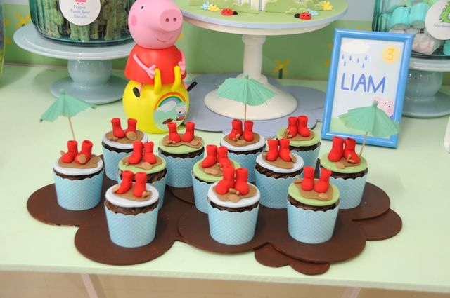 Adorable fondant topped cupcakes at a Peppa Pig party!  See more party ideas at CatchMyParty.com!  #partyideas #peppapig
