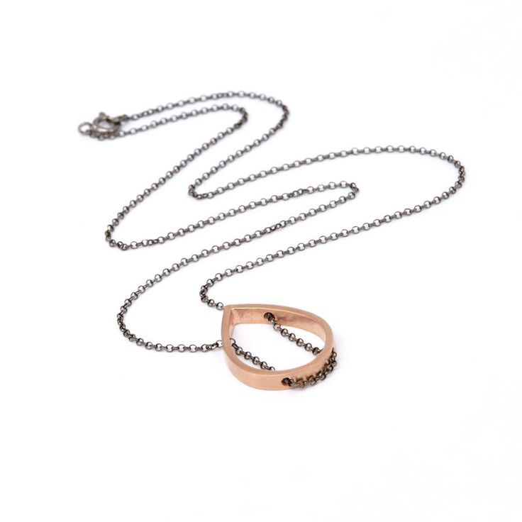 Rose Gold Plated Tear/Rhodium Plated Chain