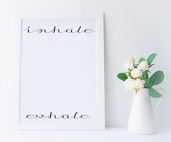Inhale Exhale, digital print, yoga gifts, trending art, yoga, yoga print, black and white, pilates art, relaxation gifts, meditation
