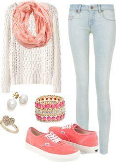 Los jeans azul claro El suéter blanco La bufanda rosada Los zapatos de tenis rosados y blancos Cuestan: $115/ 102.85€ Clavado por: Ryan Daniels