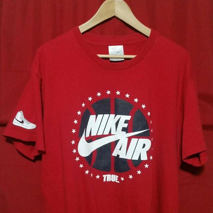 VTG Nike Air Basketball T-shirt True Red XL Gray Tag Legend AF1 Shoe logo rare #Nike #GraphicTee