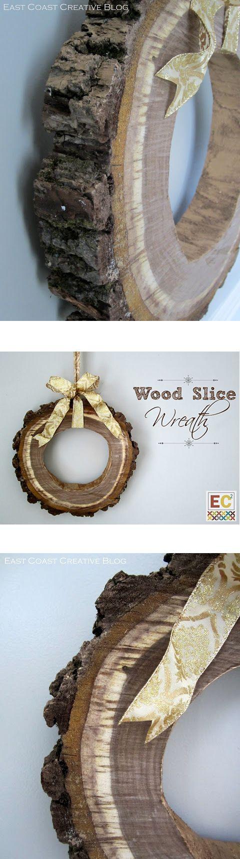DIY Christmas Wreath from Wood at Shanty-2-Chic.com // Great project from eastcoastcreativeblog.com  Maar hoe kom ik aan zo'n schijf hout...?