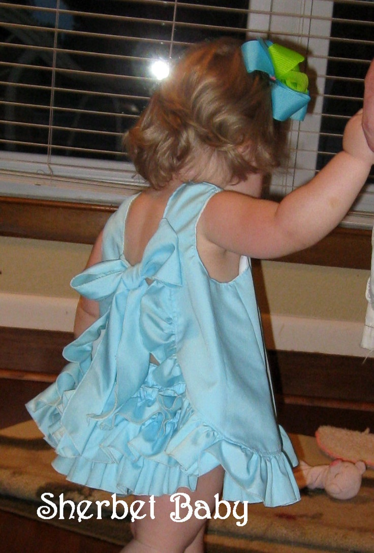 Ruffled Pinafore Dress & Sassy Pants Ruffle Diaper Cover Set Shown in Aqua. $68.00, via Etsy.