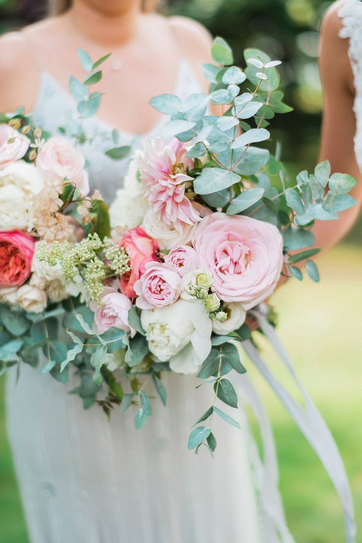 Romantic Pink, White & Coral, Rose, Dahlias & Eucalyptus Bouquet | Pink & Coral Country Wedding at Crabbs Barn, Essex | Kathryn Hopkins Photography | Film by Colbridge Media Services Ltd