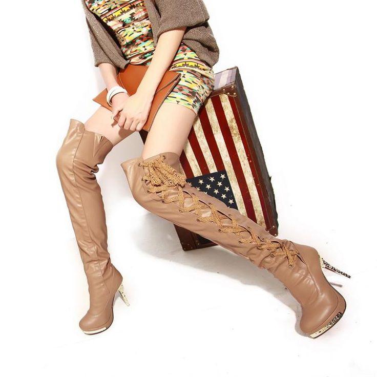 Сапоги осенние и зимние сапоги на высоком ног сапоги из мягкой кожи длиной до колен сапоги сексуальные тонкие ультра высокие каблуки женские туфли