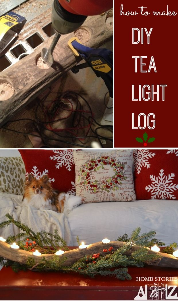 How to make a DIY Tea-Light Log in around 10 minutes. This makes a fantastic winter centerpiece. Click for the tutorial.