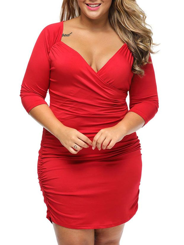 Simple Style Deep V-Neck Plain Ruched Plus Size Bodycon Dress
