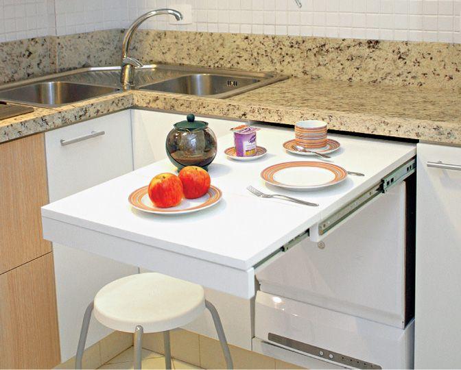 Aproveitando espaços: mesa retrátil