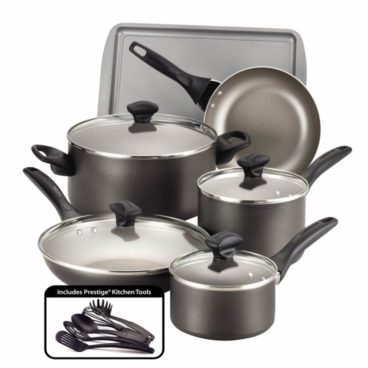 Farberware Dishwasher Safe Nonstick Aluminum 15-Piece Cookware Set, Pewter