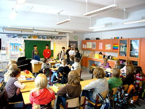 Daily Life:This picture shows a typical classroom in Finland. Finland has one of the best school school systems in the world. Kids must attend school at the age of 6. After 9th grade, kids can go to a high school or a school that helps them with their job.