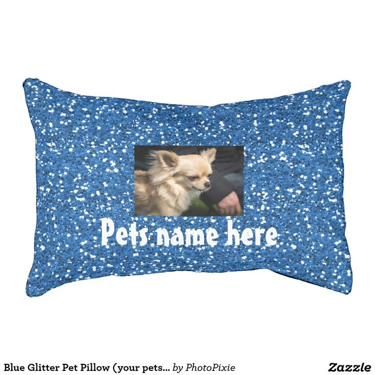 Faux Blue Glitter Design Pet Pillow/Bed Small (your pets name and Photo)