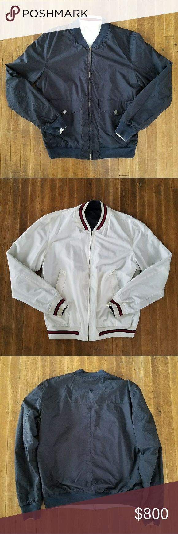 GUCCI REVERSIBLE MEN'S BOMBER JACKET Reversible Gucci bomber in navy and white Gucci Jackets & Coats Bomber & Varsity