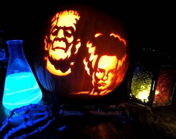 bride of frankenstein pumpkin stencil - Google Search