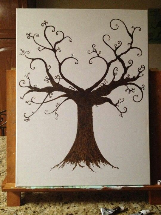 """Our fingerprint tree for the guest to """"leaf"""" their fingerprint so we know who was there.....Thank you to our artist, Chloe!"""