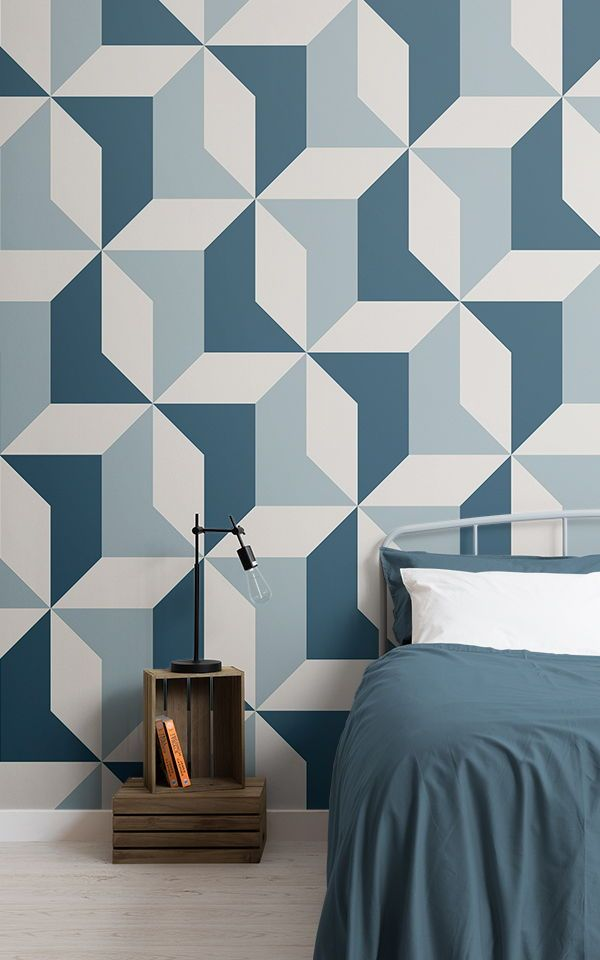 Complete A Cool Kids Bedroom Decor For Your Little Cool Boy With This Collection Of Blue D Blue Wallpaper Bedroom Geometric Wallpaper Blue Geometric Wallpaper