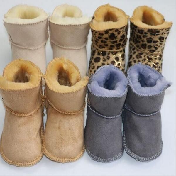 2017 new hot sale fur warm girls boots winter genuine leather baby moccasins shoes kids first walker leopard toddler moccas soft