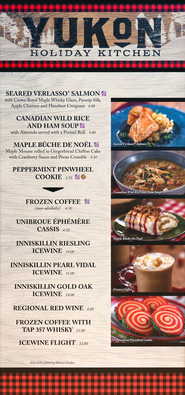 The 2019 Yukon (Canada Pavilion) menu board with prices