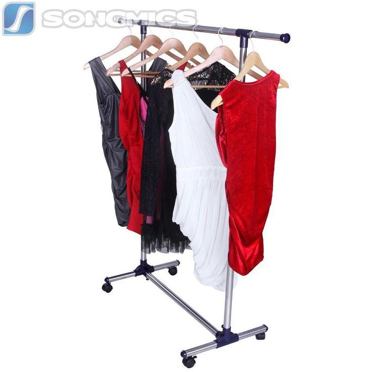 Songmics Kleiderständer Kleiderstange Garderobenständer Mit Rollen LLR01L
