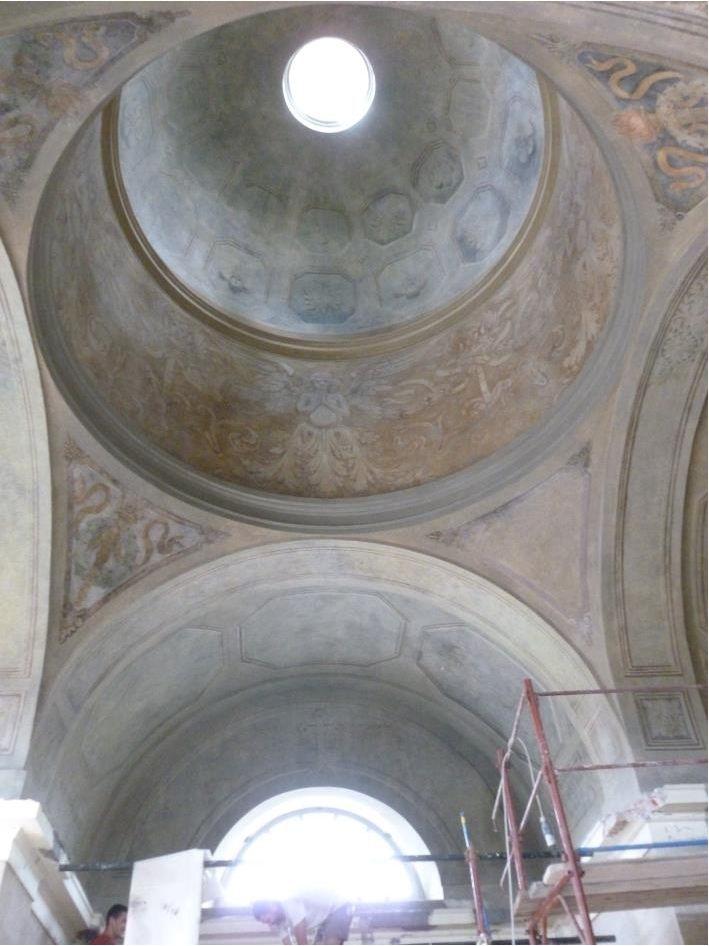 la cupola, il tamburo e i pennacchi e le volte con il ciclo decorativo del 1913 restaurato