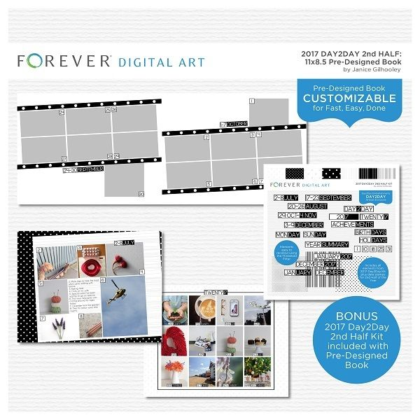 2017 Day2Day 2nd Half Pre-designed Book 11x8.5  This pre-designed, photo-ready book template is fully customizable for 11 x 8.5 pages. Artwork and additional Digital Kit included  Contains: 1 cover and 31 pre-designed pages plus Mini Kit including 7 Papers, 3 Overlays and 98 Embellishments