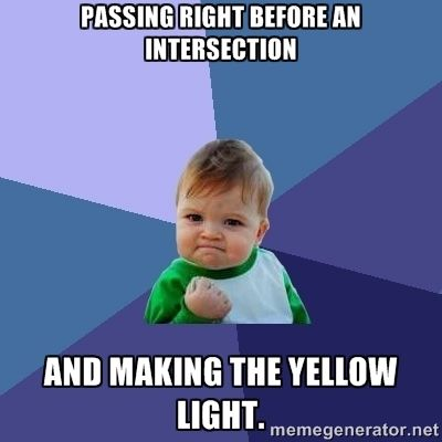 Making the yellow light at an intersection