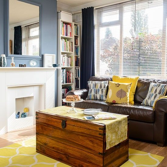 Mid-century style living room | Living room decorating | Ideal Home | Housetohome.co.uk - like the big chest as a coffee table, use for toy storage?