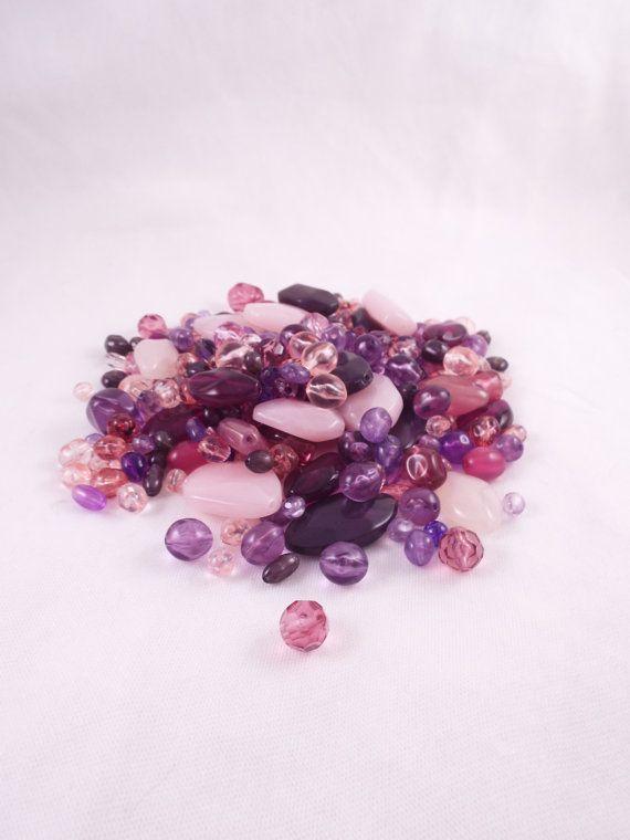 Mixed bag of Purple & Pink Acrylic Beads by HandmadeByVscot