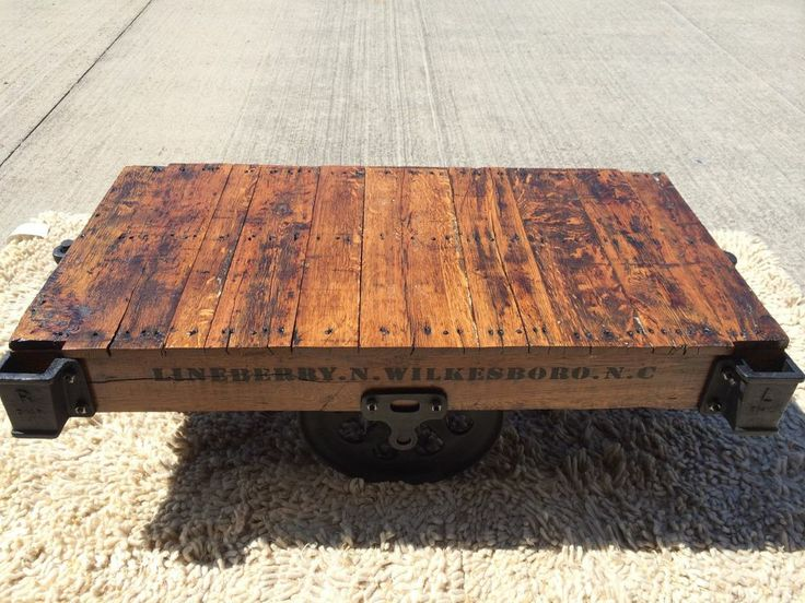 Restored Lineberry Factory Railroad Cart   Coffee Table   Golden Oak Stain