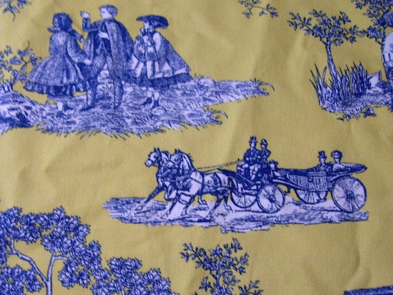 Waverly Horse Carriage Yellow Blue Toile Fabric By