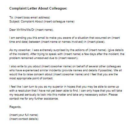 Complaint Letter About a Colleague
