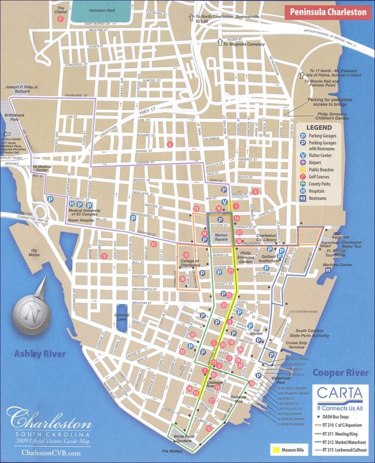 Map of downtown Charleston, SC South Carolina
