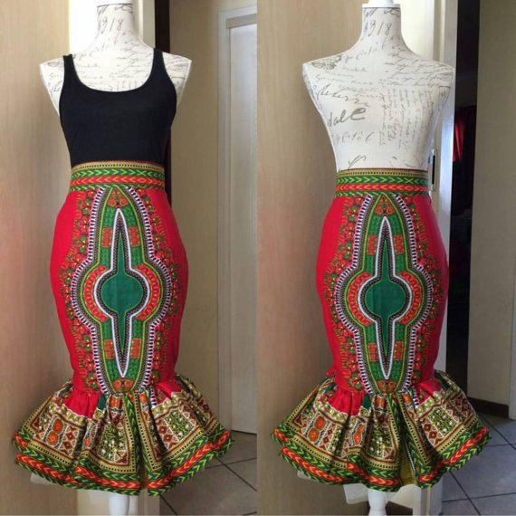 Dashiki midi skirt with peplum frill hem Angelina door FashAfrique