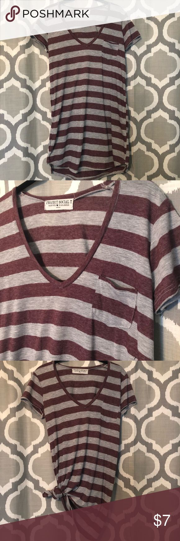 Long tshirt, v neck, stripped, with pocket. Comfy! Would look cute with leggings or jeans! Pair with a faux leather jacket or long cardigan for a perfect look! Basically NWOT, only worn for maybe a few hours. Bought at Nordstrom Rack Nordstrom Tops Tunics
