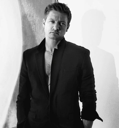 """Jeremy Renner #3: Yes one more photo, because he's not wearing a shirt under that jacket..."" I love you for that"