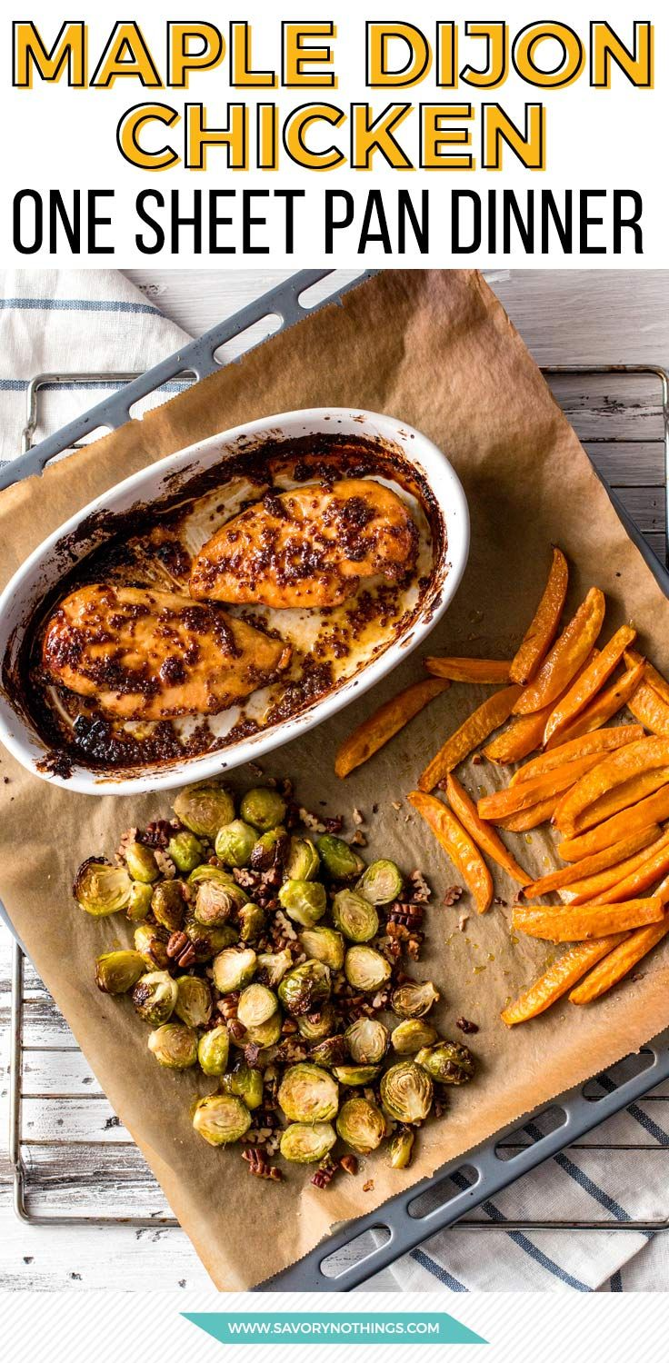 Always looking for easy meals? Try this maple dijon chicken sheet pan dinner next! The roasted brussels sprouts and sweet potatoes are seriously amazing.