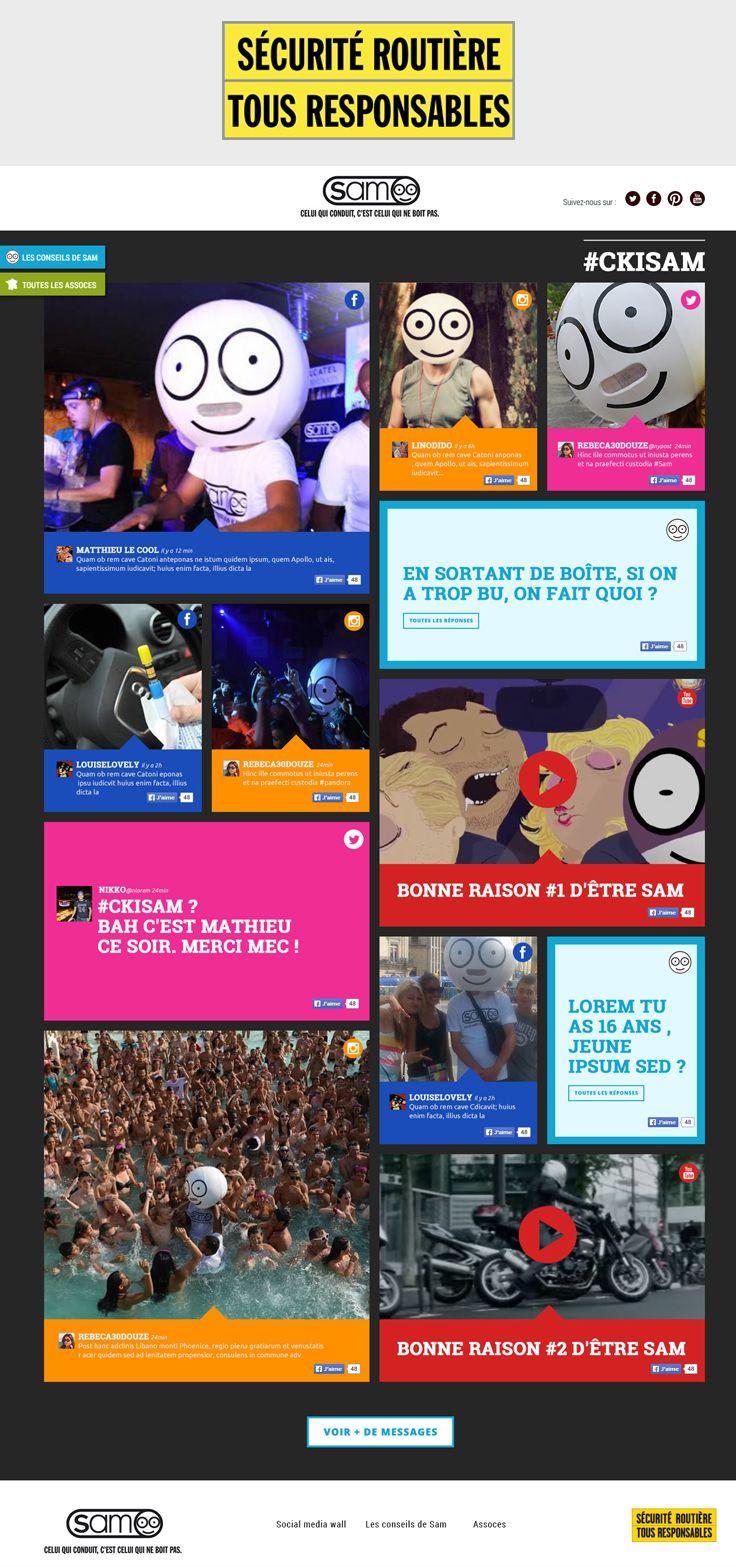 SECURITE ROUTIERE Site Web de SAM, le conducteur désigné, sous forme de Social Media WALL. Réalisé grace à l'agence SPOKE. http://www.ckisam.fr/