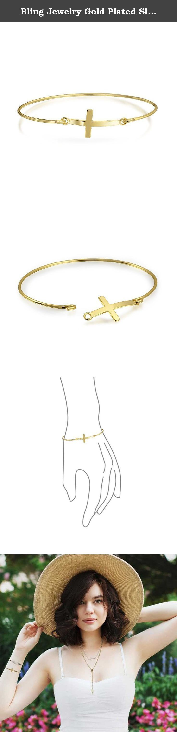 Bling Jewelry Gold Plated Silver Sideways Cross Stackable Bangle Bracelet. If you are looking to add a hint of subtle spirituality to your wrist this season, our gold plated sideways cross bracelet is a perfect Christmas gift. A sideways cross is front and center on our new sterling silver bangle bracelet to create this lovely piece of religious jewelry for her. Works well solo or paired with silver stacking bracelets.