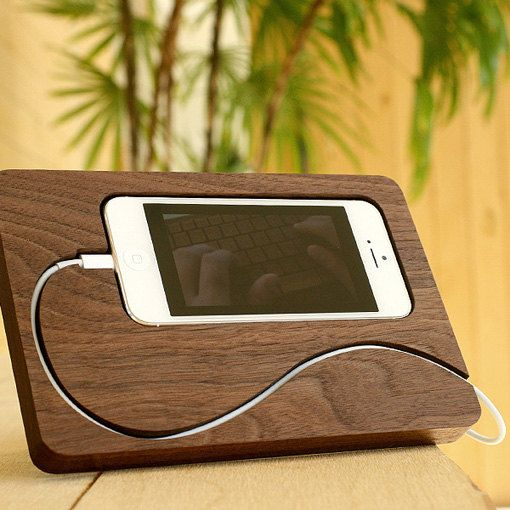 Wooden iPhone dock station. $72.00, via Etsy.