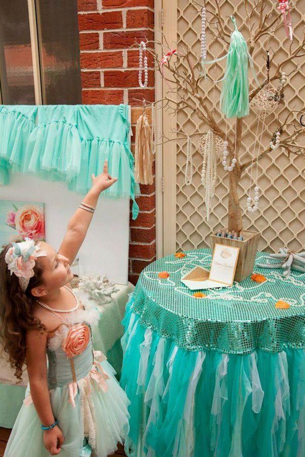 Mermaid under the sea ocean themed girl party planning idea