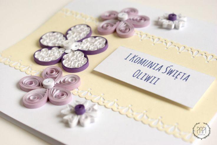 kartka z okazji pierwszej komunii fioletowa