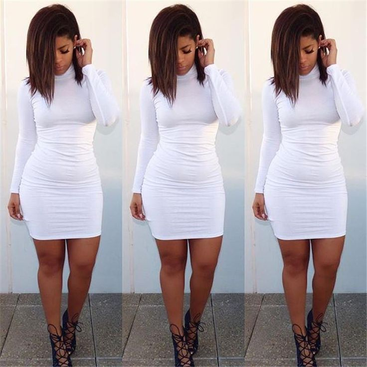 Women's Long Sleeve High Neck Bandage Slim Fit Package Hip Sexy Evening Dress Clubwear Dress